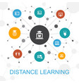 distance learning trendy web concept with icons vector image vector image