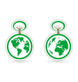 Ecology button icon or logo with earth and tree vector image