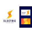 electric logo and business card template vector image vector image