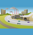 factories plants cars highway vector image