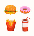 fast food with burger drink donuts fries vector image vector image