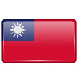Flags Taiwan in the form of a magnet on vector image vector image