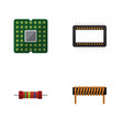 flat icon technology set of bobbin resistance vector image vector image
