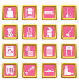 garbage thing icons pink vector image vector image