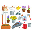 gardening tools and flowers vector image