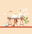 girl busy at workplace with pile of papers vector image