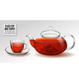 glass cup and teapot with tea realistic 3d vector image