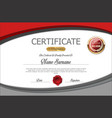 gray and red certificate template vector image vector image