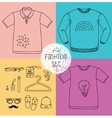Hand drawn clothing set Blank t-shirt polo vector image