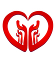 Hands in a heart logo vector image vector image