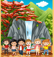 happy children visiting waterfall vector image