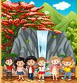happy children visiting waterfall vector image vector image