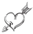 heart pierced by an arrow outline isolated on vector image