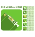 Infection Injection Icon and Medical Longshadow vector image vector image