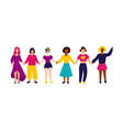 interracial group women holding hands vector image vector image