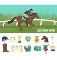 Jockey Icons Flat vector image vector image