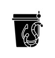live bait black glyph icon vector image vector image