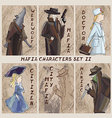 Mafia city characters set Role-playing card game vector image