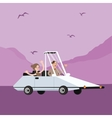 man woman couple riding funny weird shaped car vector image vector image
