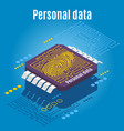 microchip biometrics isometric background vector image vector image