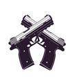 modern pistols two crossed handguns vector image vector image