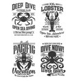 octopus crab and lobster logo cafe diving club vector image vector image