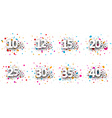Paper numeral signs set vector image vector image