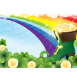 Rainbow and leprechaun shoe vector image