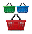 realistic red blue and green empty supermarket vector image vector image
