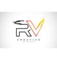 rv creative modern logo design with orange and vector image