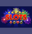 screen logo casino slots banner on blue vector image vector image