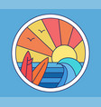 sea and surfing icon vector image
