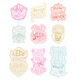 Set of outlined romantic badges