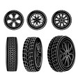 set of six wheels vector image vector image