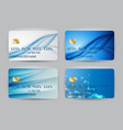 silver blue wave bank card blank model template vector image