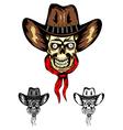 skull cowboy color vector image vector image