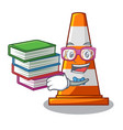 student with book on traffic cone against mascot vector image vector image