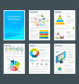 template of business brochure with infographics vector image vector image