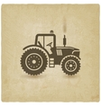 tractor silhouette old background vector image