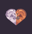 two romantic horses in the shape of a heart vector image vector image