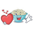 with heart rice bowl mascot cartoon vector image