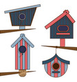 wooden birdhouses separate on a white background vector image vector image