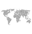worldwide map mosaic of pig head icons vector image