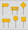 yellow road signs blank traffic road empty vector image vector image