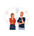 young couple think about problem question symbol vector image