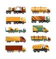 set of trucks icons isolated on white vector image