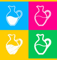 amphora sign four styles of icon on four color vector image