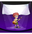 A boy at the stage with an empty banner at the vector image vector image