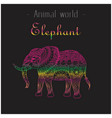 animal world elephant thai design colorful black b vector image