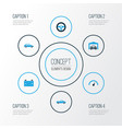 auto colorful icons set collection of battery vector image